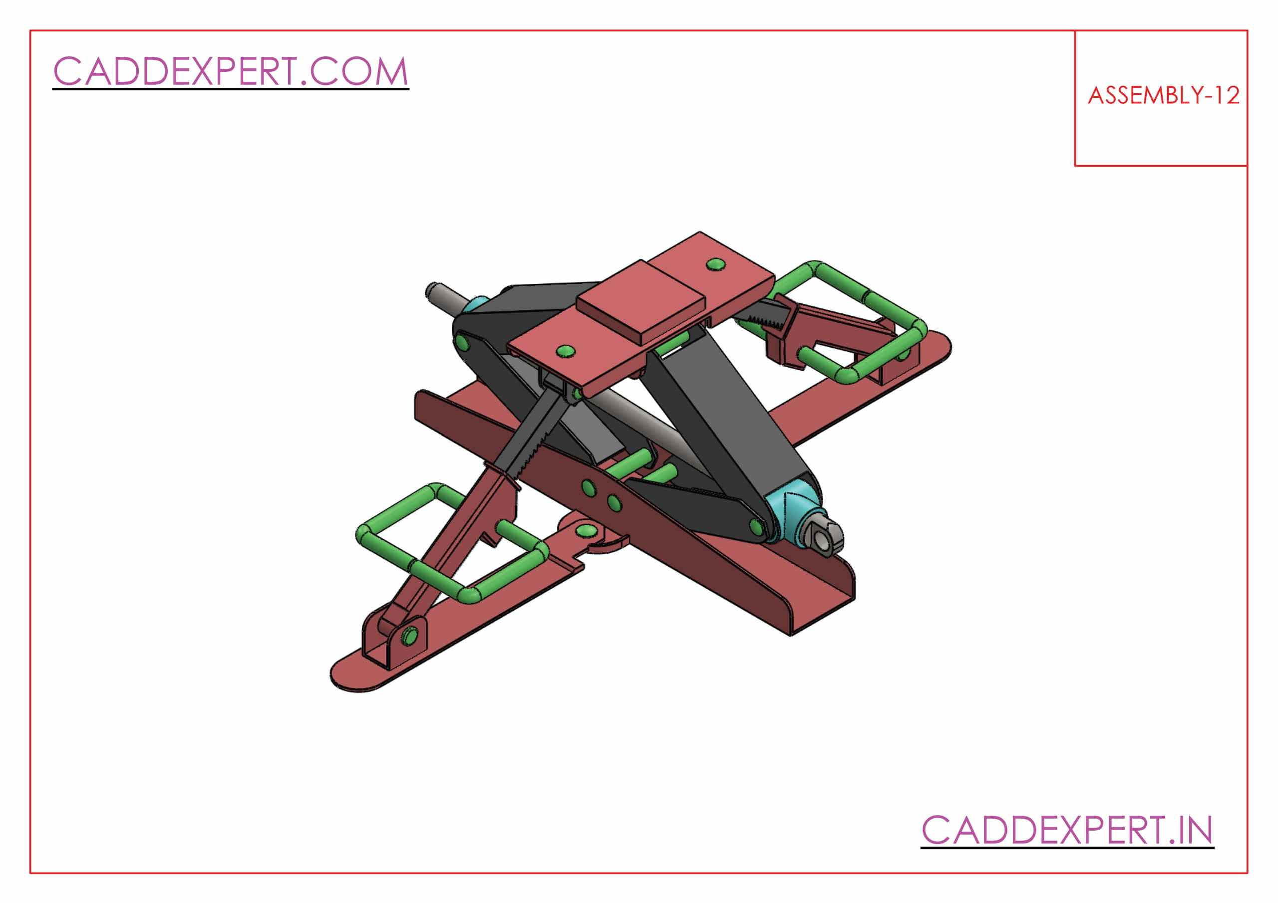 SOLIDWORKS ASSEMBLY JACK SCREW ISOMETRIC VIEW