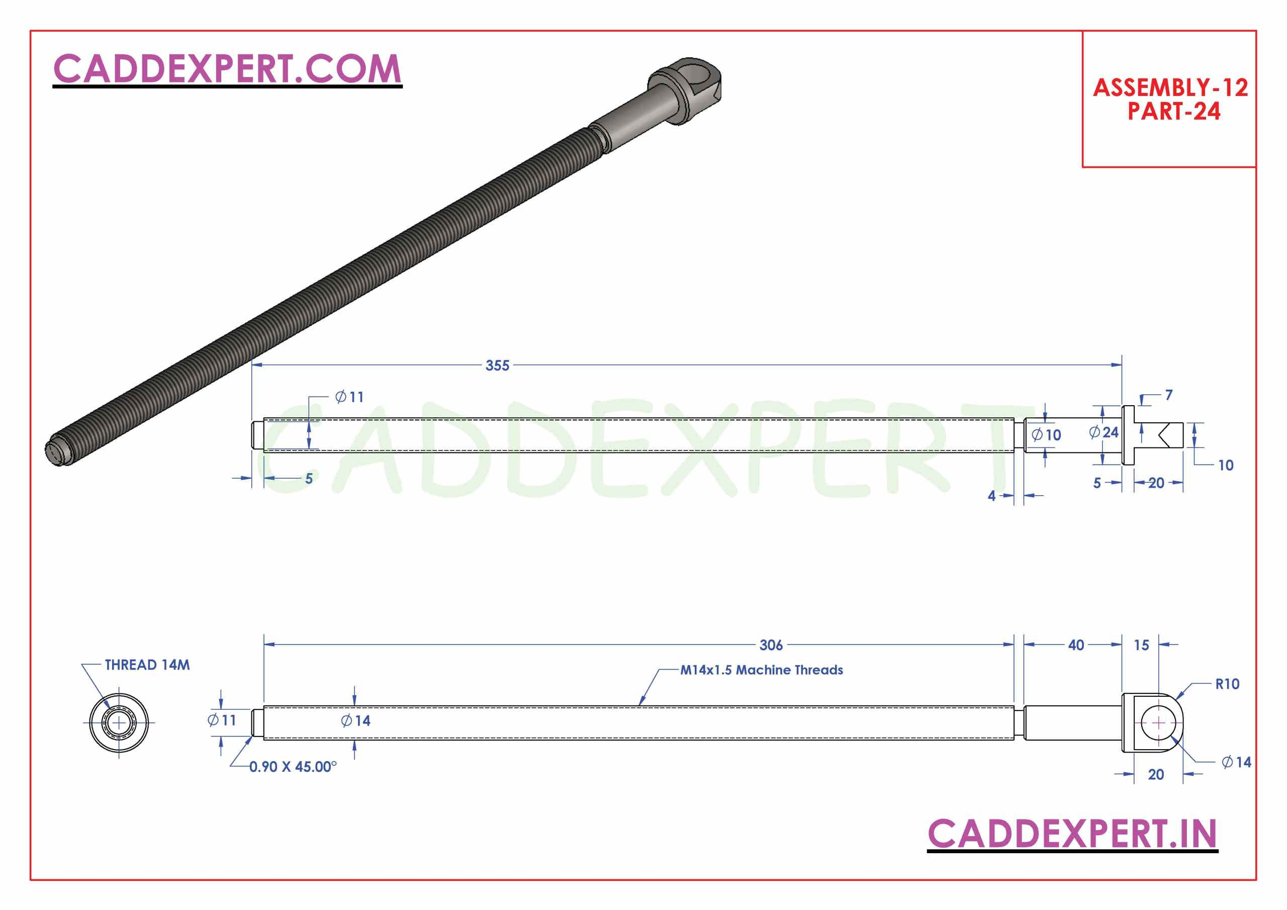 SOLIDWORKS ASSEMBLY JACK SCREW PART - 24