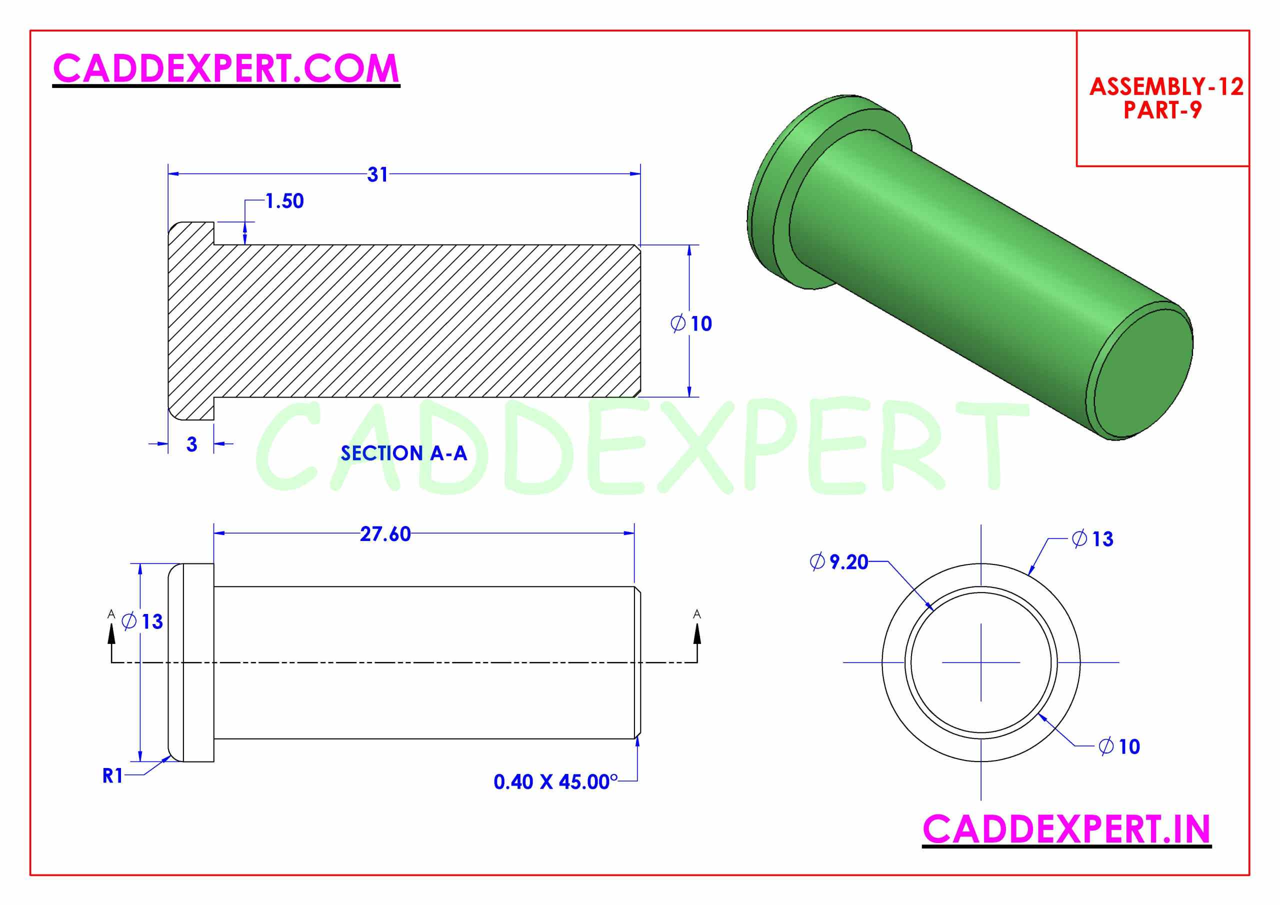 SOLIDWORKS ASSEMBLY JACK SCREW PART - 9