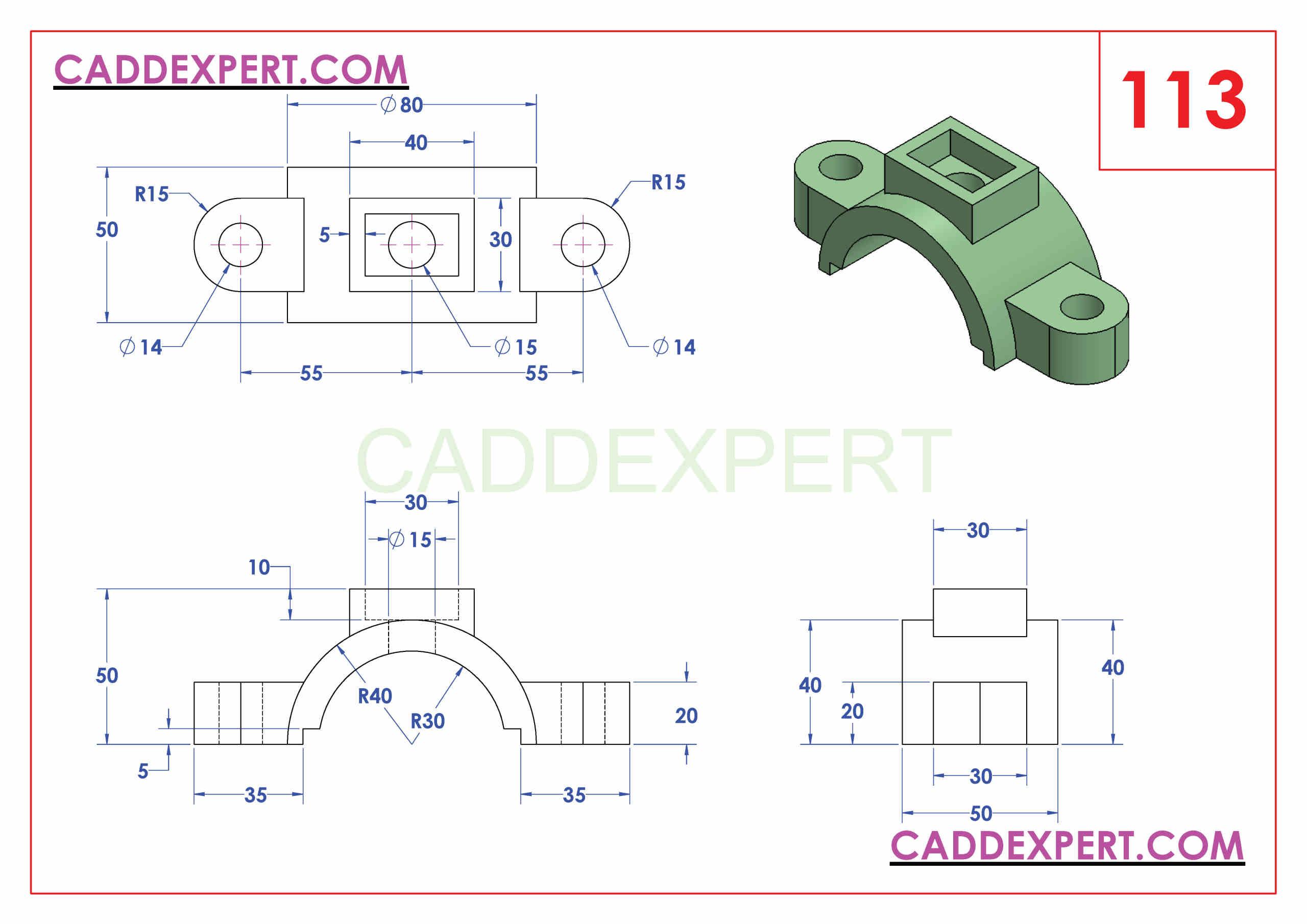 SOLIDWORKS CATIA NX AUTOCAD 3D DRAWINGS PRACTICE BOOKS 100 PDF -113