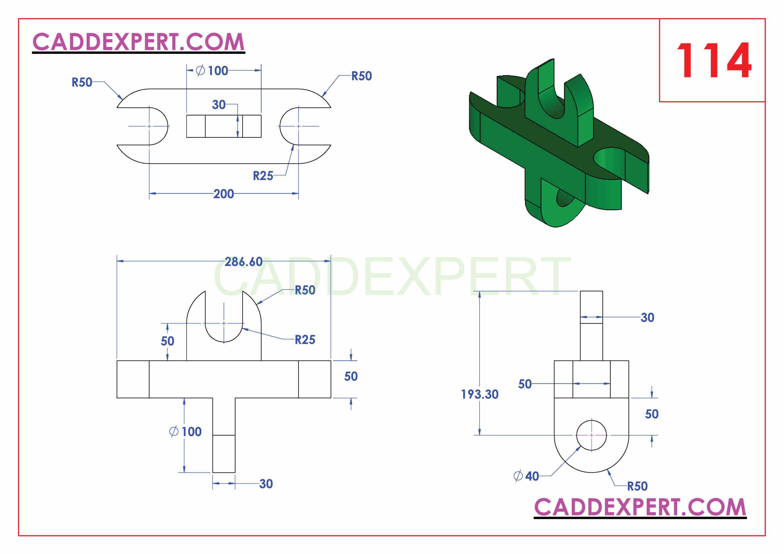 SOLIDWORKS CATIA NX AUTOCAD 3D DRAWINGS PRACTICE BOOKS 100 PDF -114