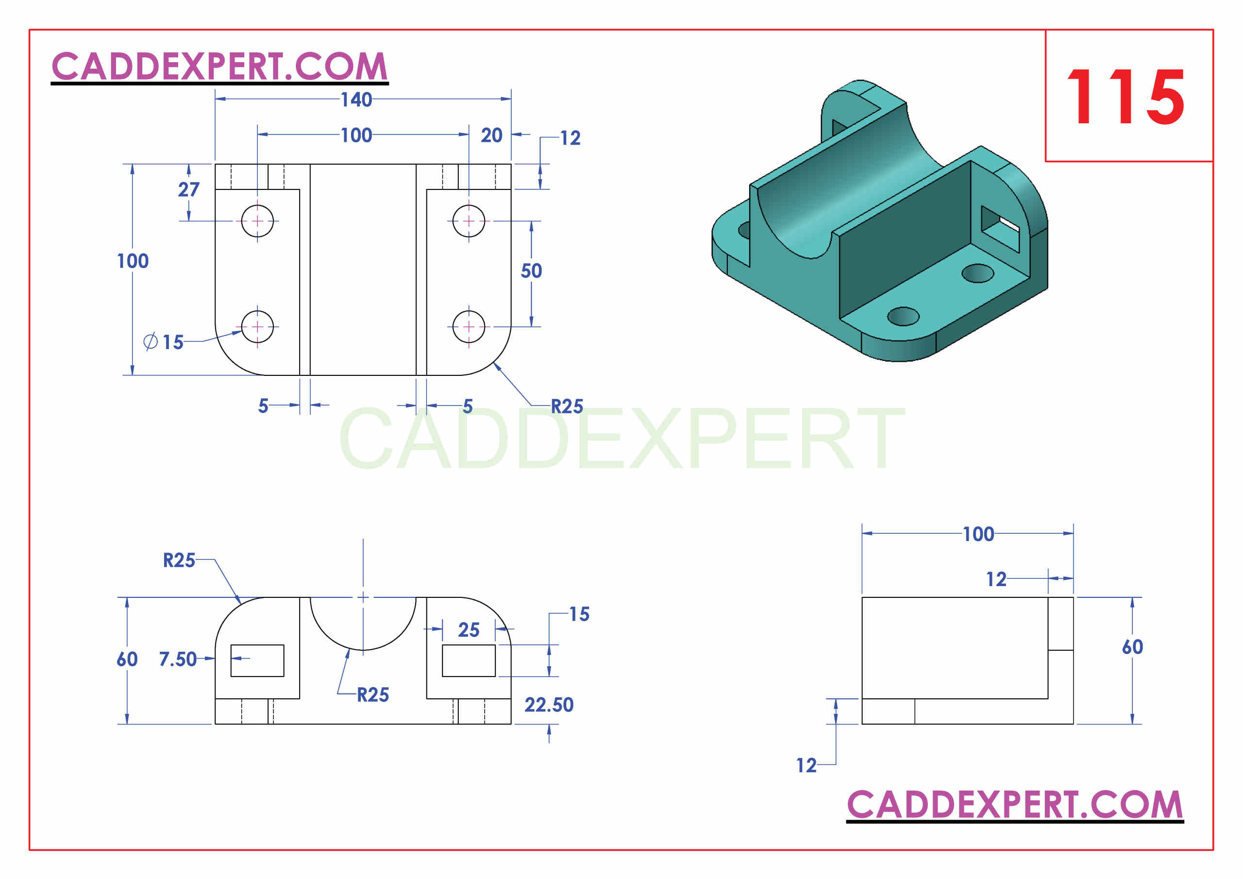 SOLIDWORKS CATIA NX AUTOCAD 3D DRAWINGS PRACTICE BOOKS 100 PDF -115