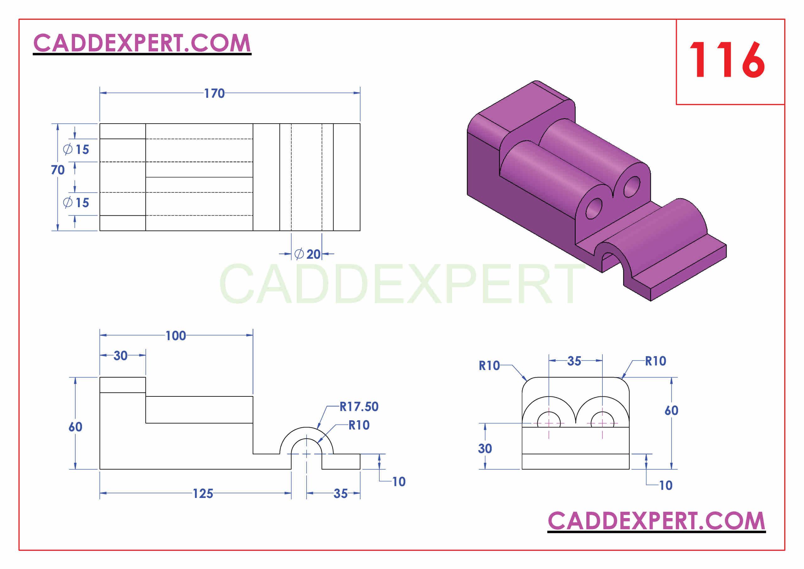 SOLIDWORKS CATIA NX AUTOCAD 3D DRAWINGS PRACTICE BOOKS 100 PDF -116