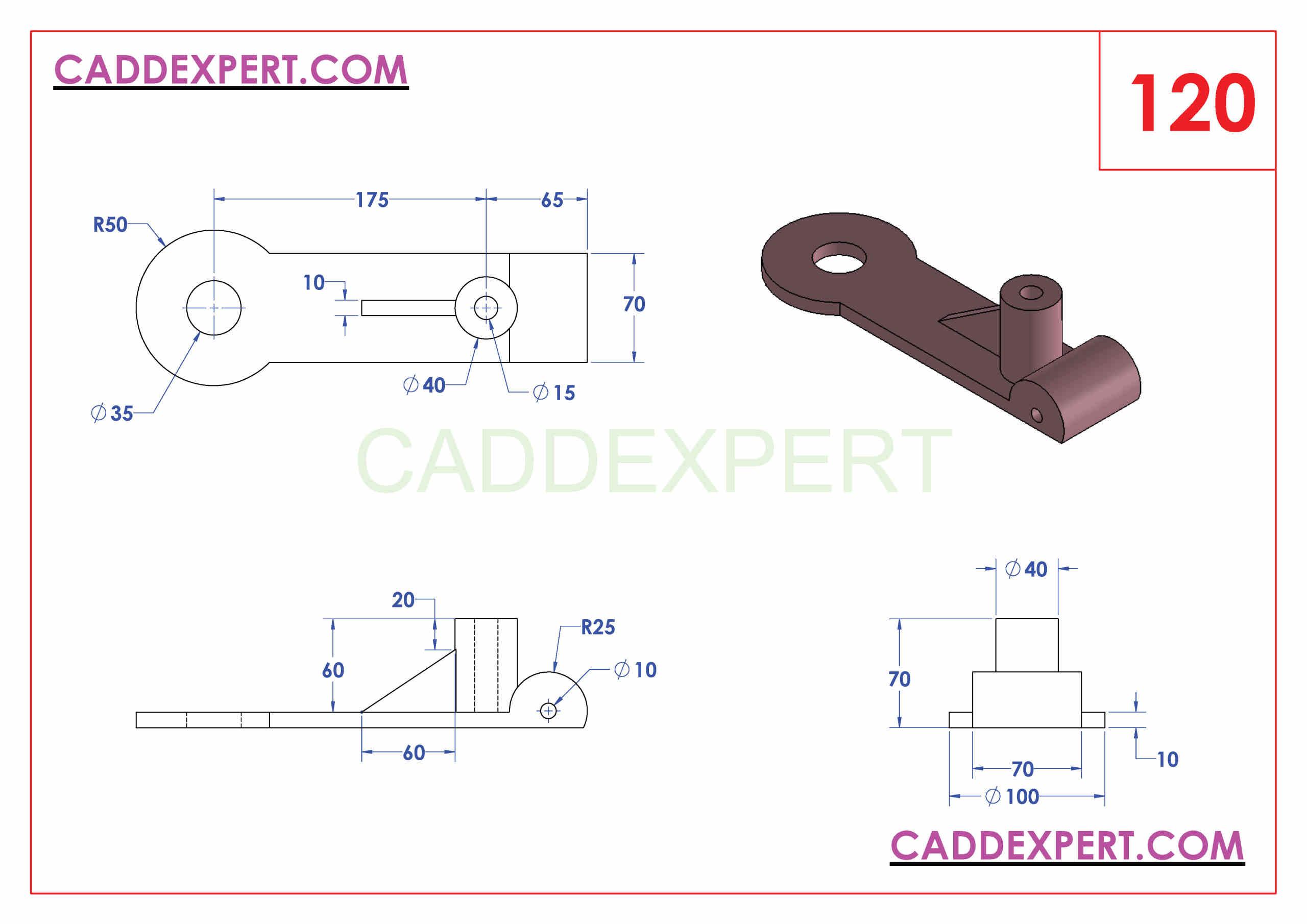 SOLIDWORKS CATIA NX AUTOCAD 3D DRAWINGS PRACTICE BOOKS 100 PDF -120