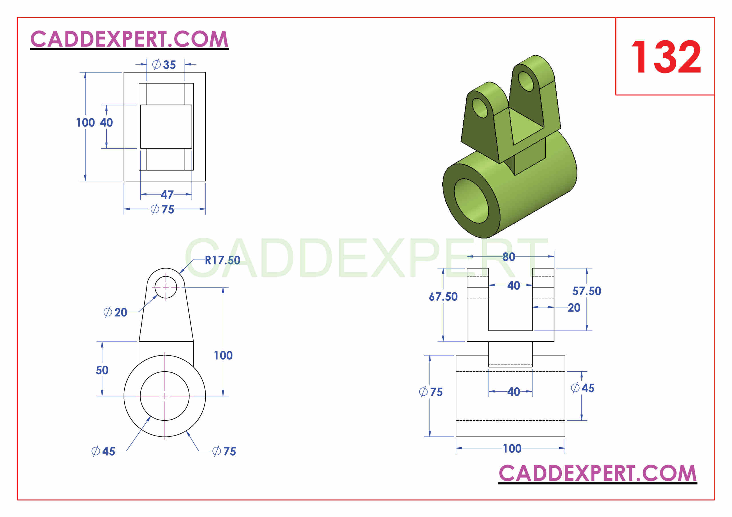 SOLIDWORKS CATIA NX AUTOCAD 3D DRAWINGS PRACTICE BOOKS 100 PDF -132