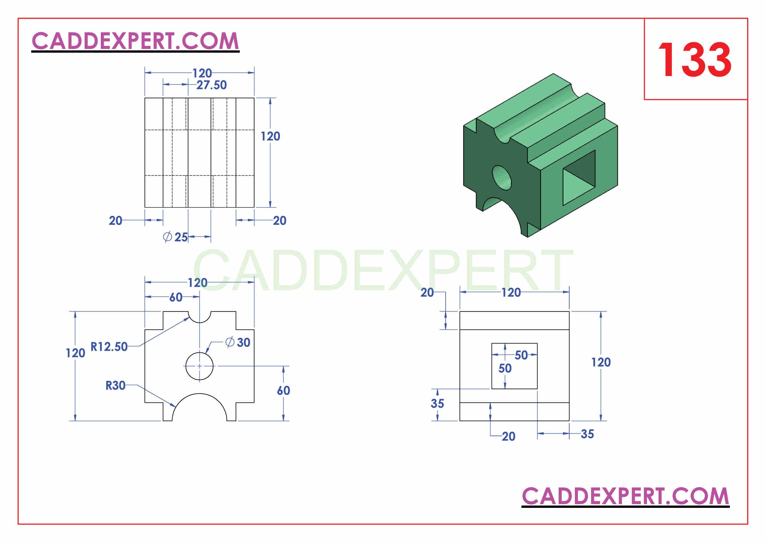 SOLIDWORKS CATIA NX AUTOCAD 3D DRAWINGS PRACTICE BOOKS 100 PDF -133