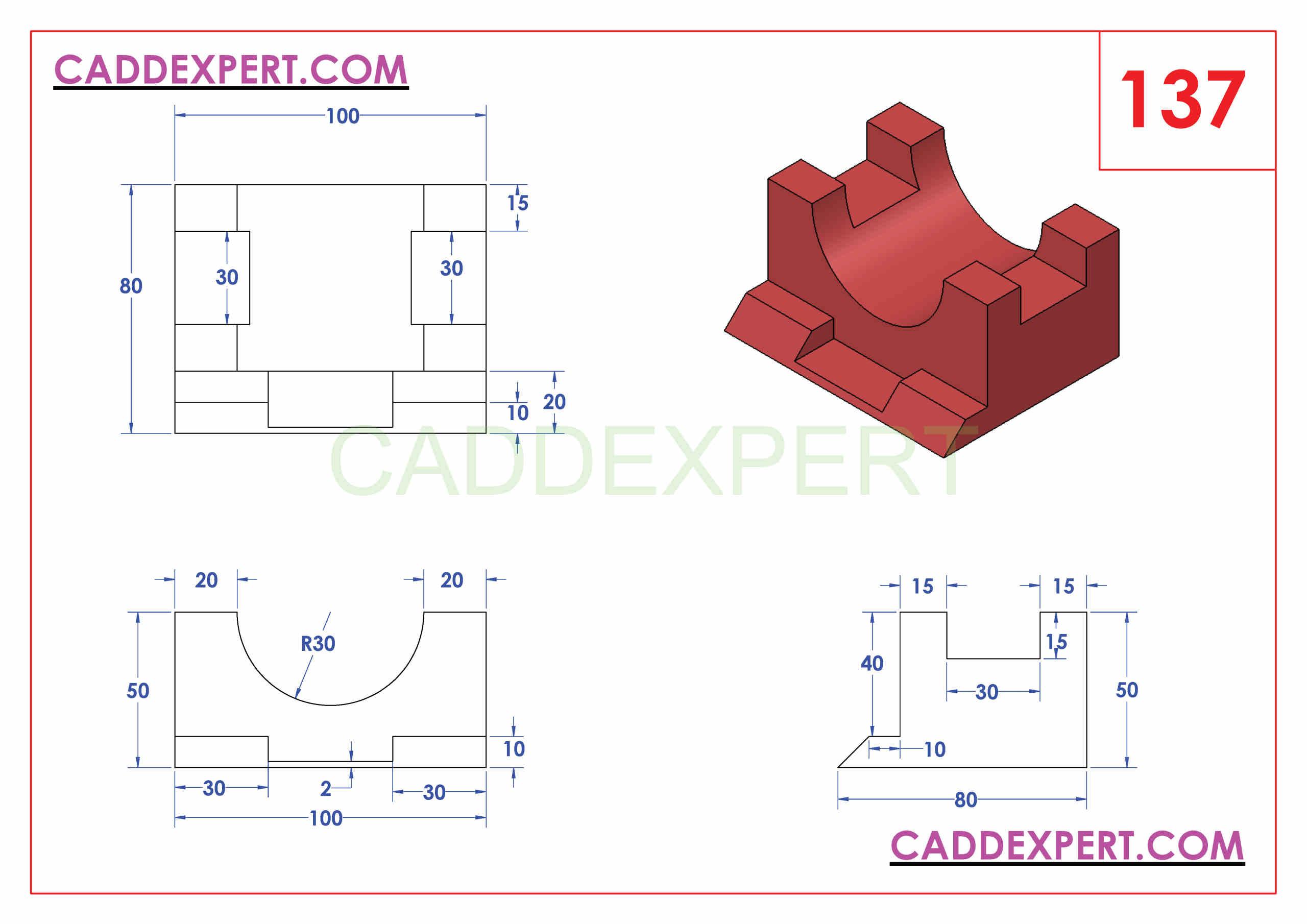 SOLIDWORKS CATIA NX AUTOCAD 3D DRAWINGS PRACTICE BOOKS 100 PDF -137