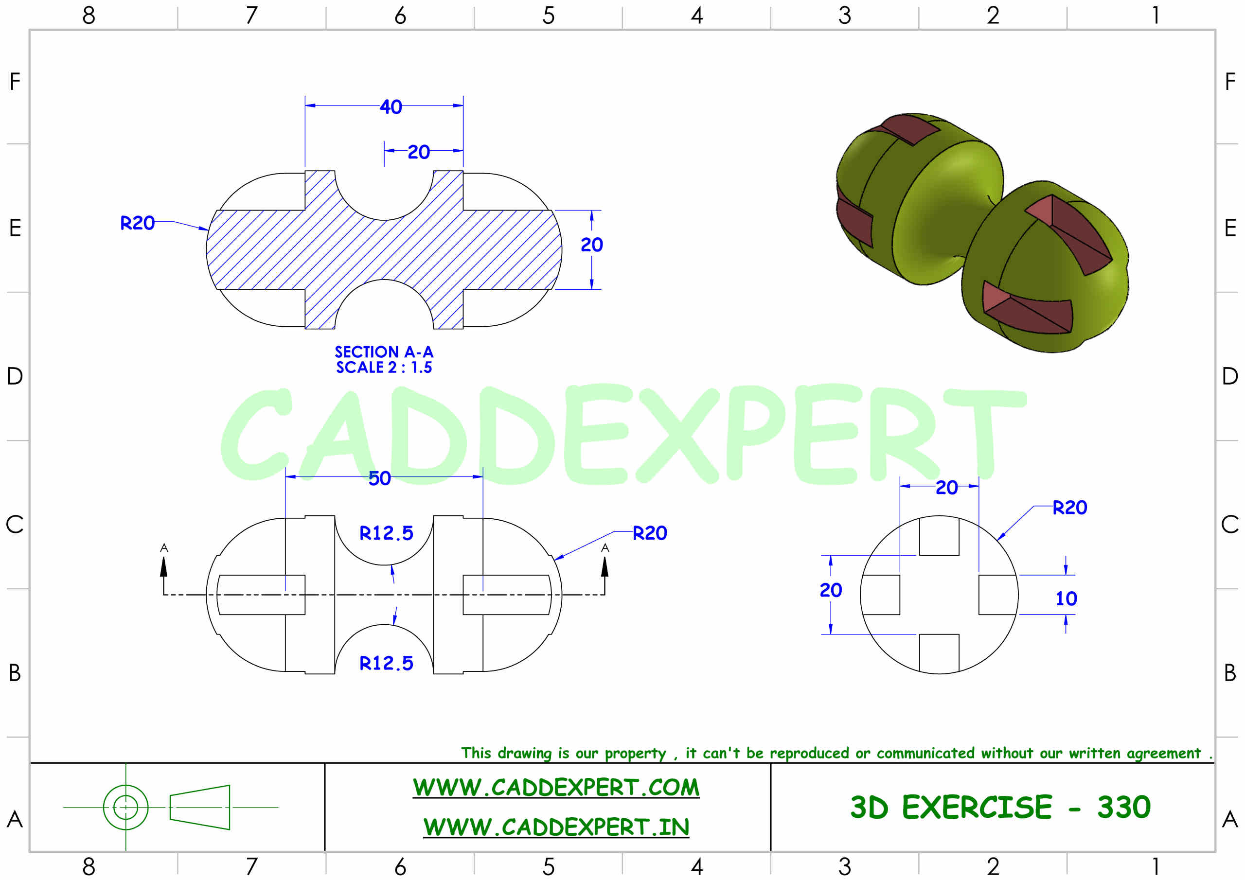 SOLIDWORKS 3D DRAWING WITH DIMENSIONS - 10