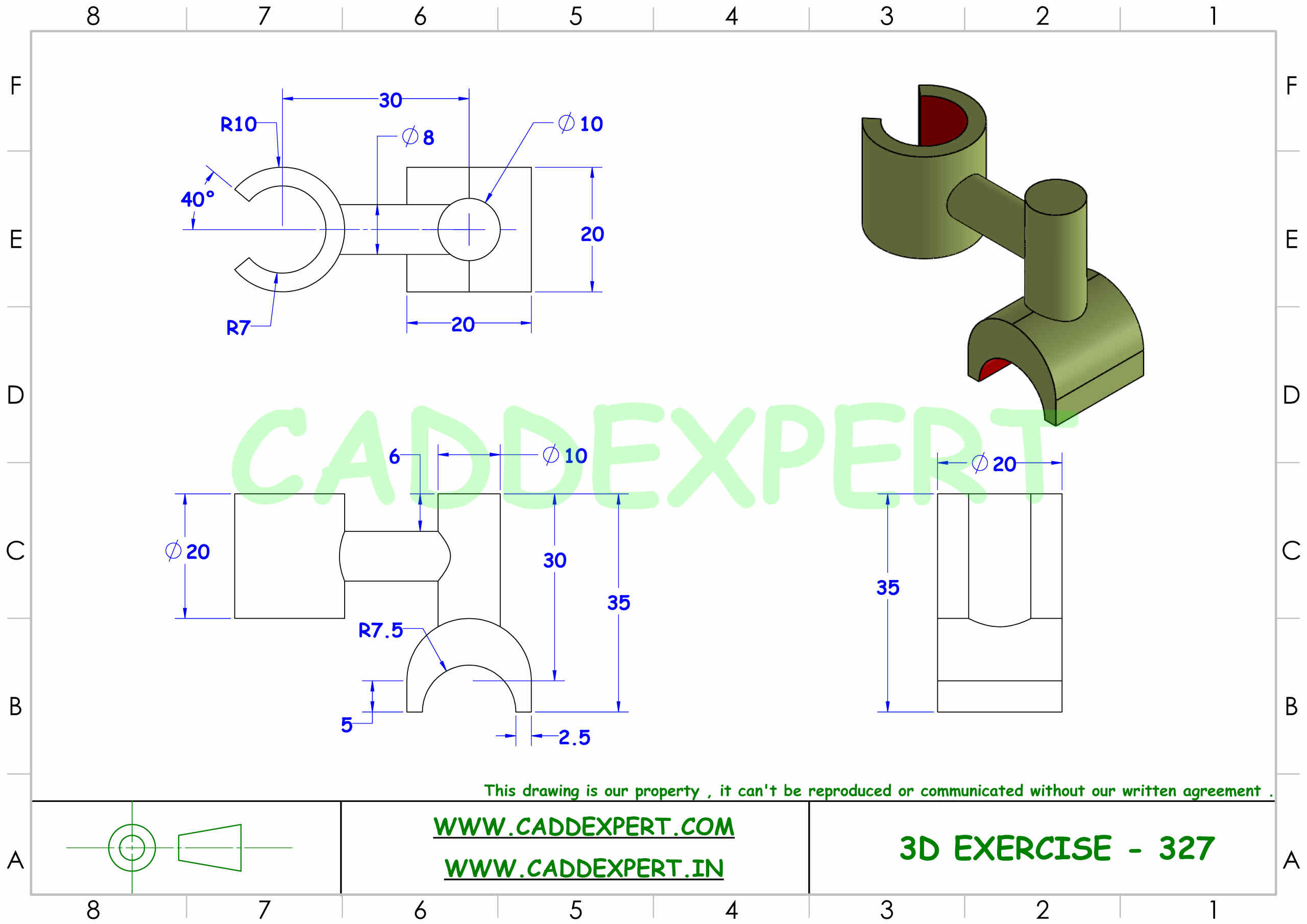 SOLIDWORKS 3D DRAWING WITH DIMENSIONS - 7