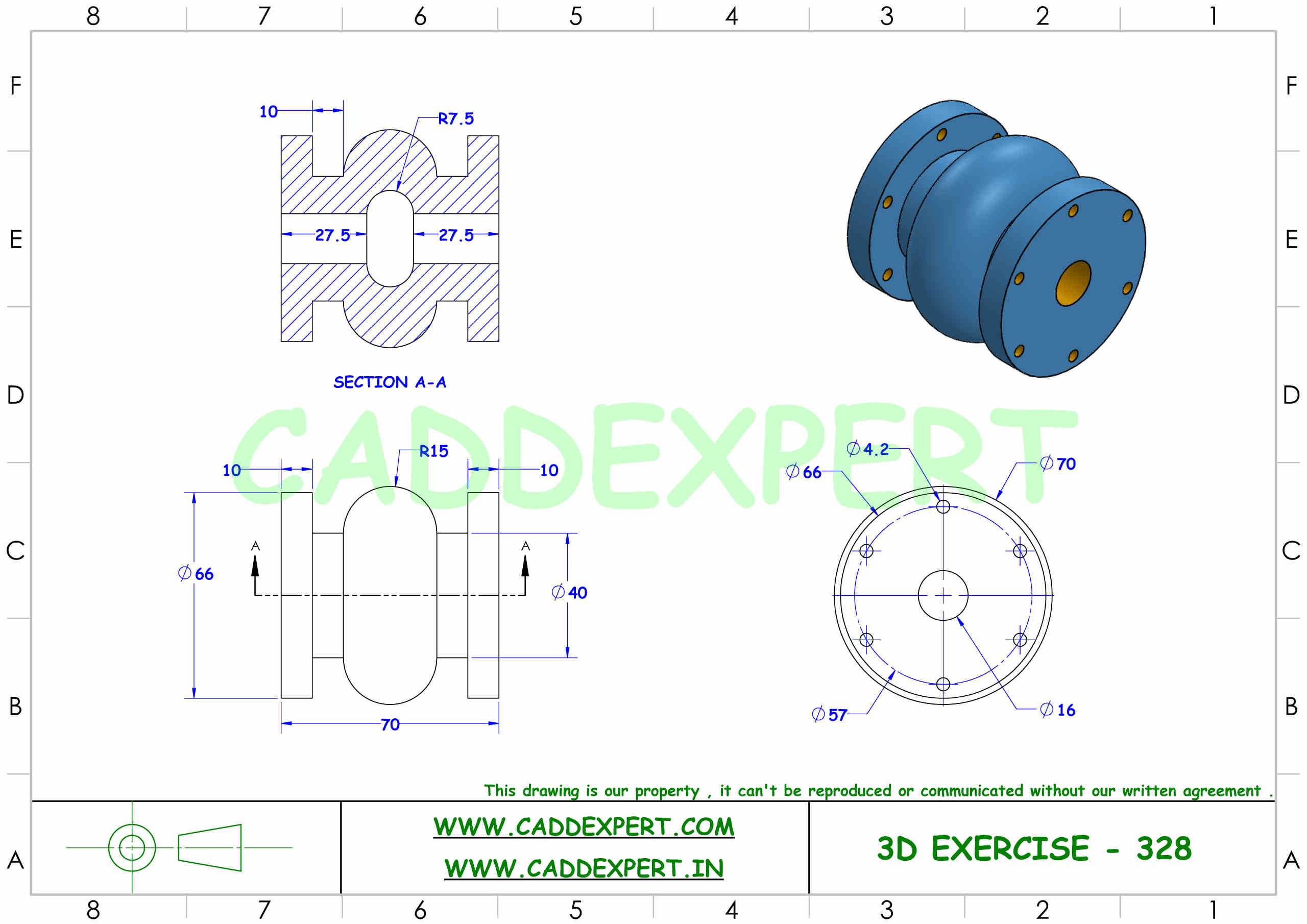SOLIDWORKS 3D DRAWING WITH DIMENSIONS - 8